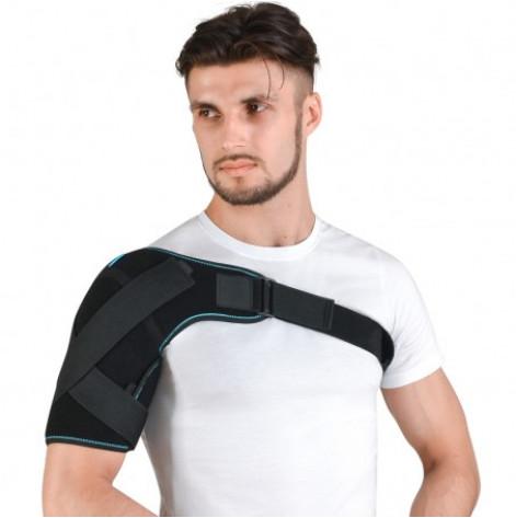 Купить Бандаж плечевого сустава неопреновый левый (синий) р.1 (4027 р.1, чор, лівий NEW). Изображение №1