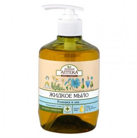 Купить Зеленая аптека мыло жидкое ромашка и лен 460 мл. (80780). Изображение №1