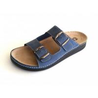 3401 Чоловічі шкіряні тапочки ORLANDO BLUE 45р.