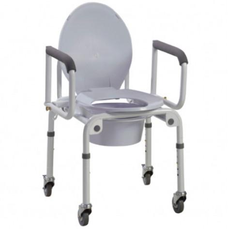 Купить Стальной стул-туалет на колёсах с откидными подлокотниками OSD-2107D (OSD-2107D). Изображение №1