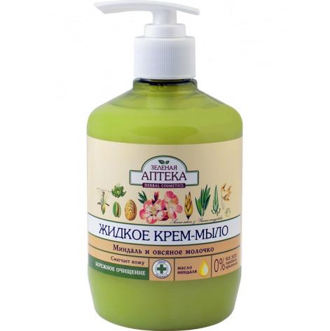 Купить Зеленая аптека мыло жидкое миндаль и овсяное молочко молочко 465 мл. (80781). Изображение №1