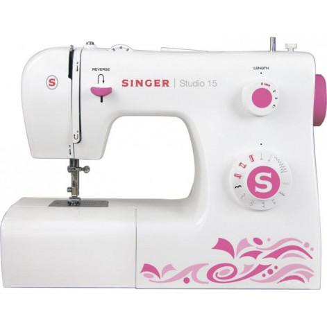 Купить Швейная машина Singer Studio 15, электромех., 11 швейных операций, белый/розовый (SINGER-STUDIO15). Изображение №1