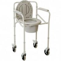 Стул-туалет складной металлический на колесах (высота: 53-64)Кресло-туалет