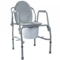 Стул-туалет с откидными подлокотниками стальной (высота: 47-58) Кресло-туалет