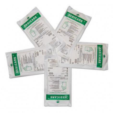 Купить Перчатки хирургические нитриловые «MEDICARE» (стерильные, без пудры, внутренняя поверхность покрыта полимерами, одеваются на мокрые руки, текстурированные) разм (3992). Изображение №1