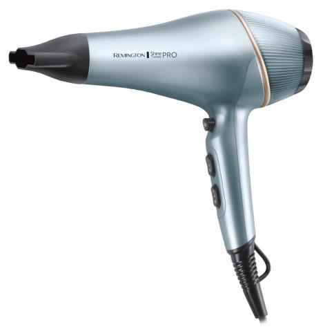 Купить Фен Remington AC9300 Shine Therapy PRO 2200, 2200 Вт, 3 темп.\2 скорости,  ионизация, голубой (AC9300). Изображение №1