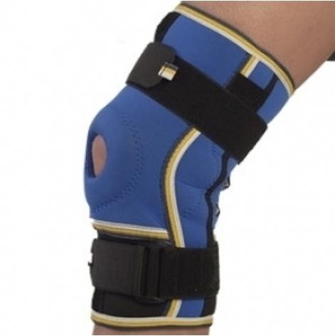 Купить Бандаж коленного сустава неопреновый с двумя шарнирами ребрами жесткости (сине-черный) р.1 (4022.1син/чо). Изображение №1